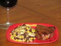 BBQ Steak with Balsamic Veggie and Bean Salad – 460 calories