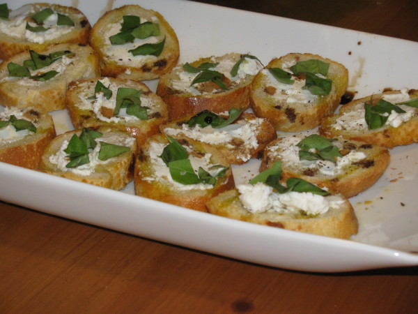 Basil and Goat Cheese Bruchetta