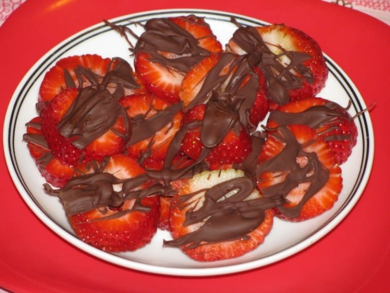 Chocolate Covered Strawberry Bites- 9 calories each