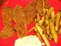 Low Fat Homemade Chicken Strips with Seasoned French Fries