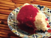 Raspberry Angel Food Cake with Raspberry Amaretto Sauce