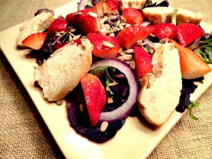 Grilled Chicken Strawberry Salad with Ginger and Garlic Dressing