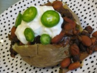 Baked Potato Smothered in Homemade Bean Chili- 290 calories