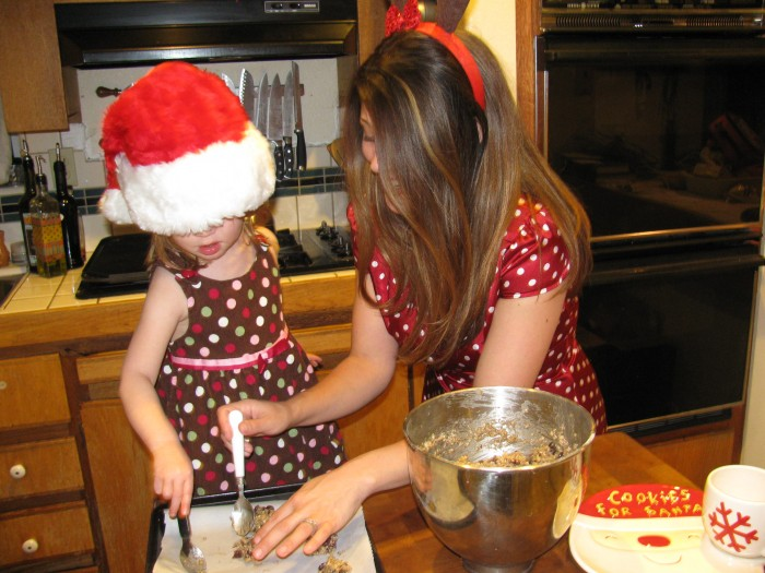 Audrey and daughter Sophia making cookies for the local paper.