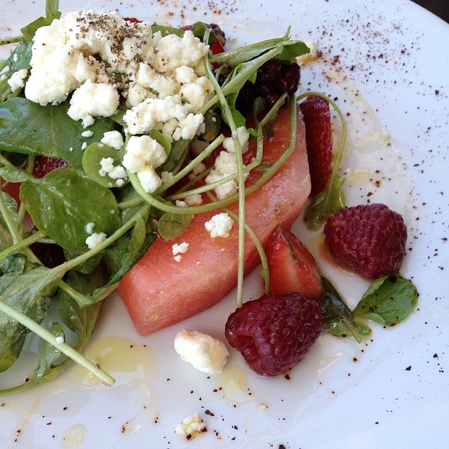 Stunning watermelon strawberry salad! #journalistlife @indulgeslo