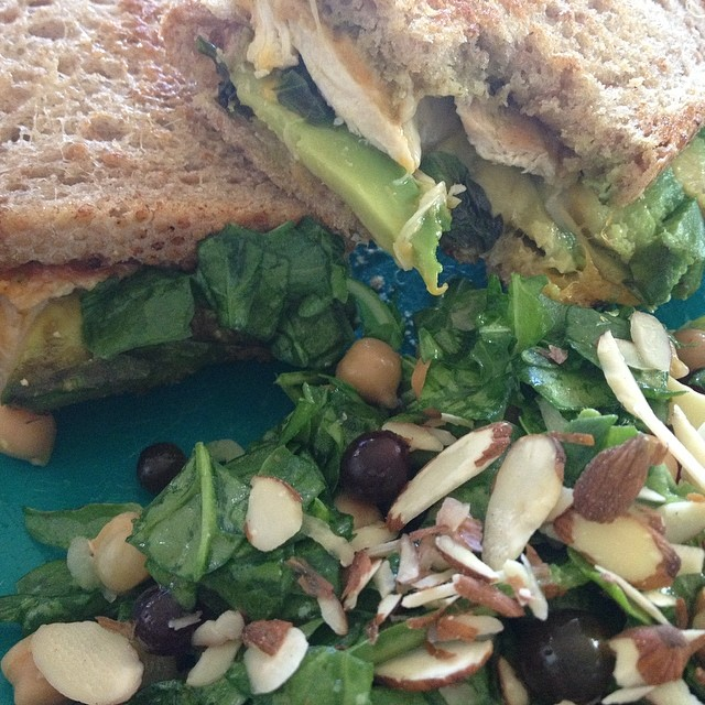 The salad was yummy, but the grown up avocado, chicken and pesto grilled cheese was to die for!! Working on recipes for The Organic Wine Company :) #recipe #recipetesting #wine #foodandwine #organicwine #foodandwinepairing #dinner