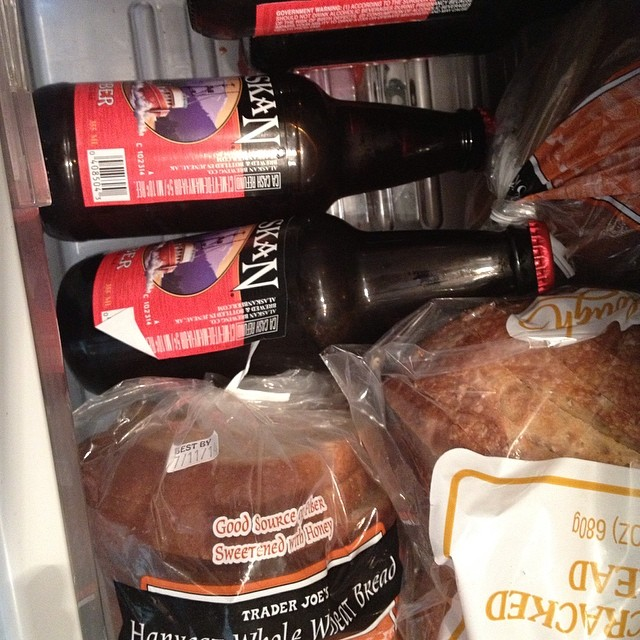 So my husband put beer in the bread drawer... He's kinda not wrong though! #beer #carbs #bread #insidemyfridge