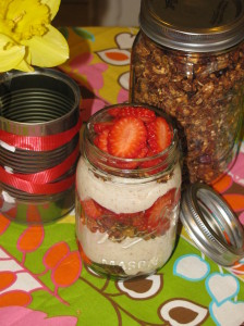 Strawberry Yogurt with Chocolate Granola
