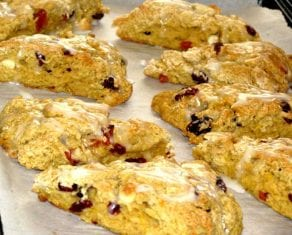 Healthy Peach and Cranberry Scones with White Chocolate